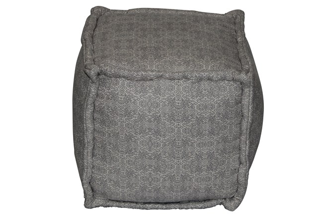 Grey & Natural Mixed Pattern Square Pouf  - 360