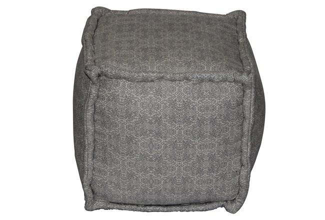 Grey & Natural Mixed Pattern Square Pouf  - 360