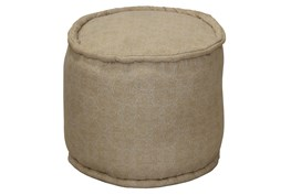 Grey & Natural Mixed Pattern Round Pouf