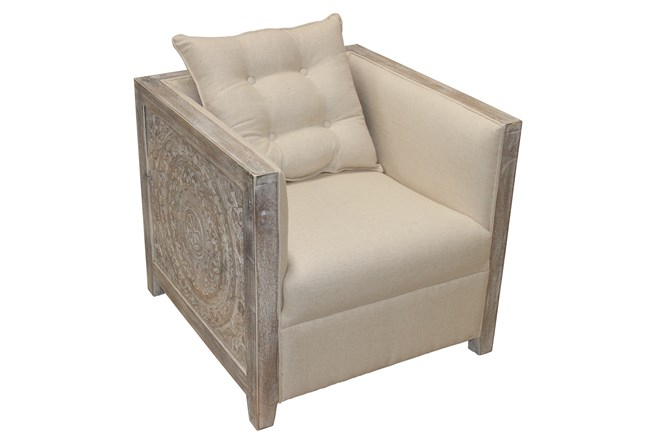 Carved Starburst White Wash Accent Chair  - 360