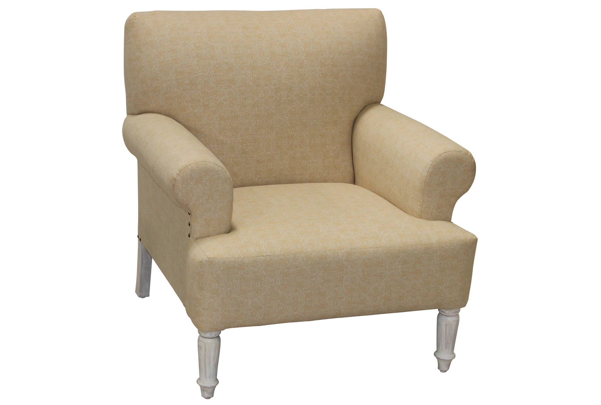 White U0026 Beige Patterned Accent Chair