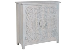 "Hand Carved White Wash 2 Door 40"" Sideboard"