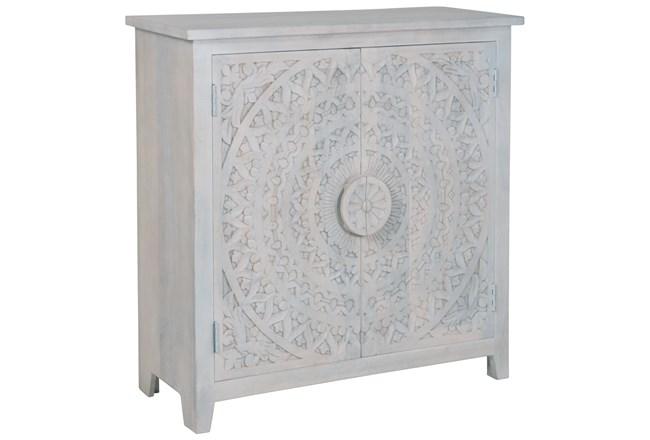 Hand Carved White Wash 2 Door Sideboard  - 360