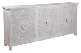 Hand Carved White Wash 6 Door Sideboard
