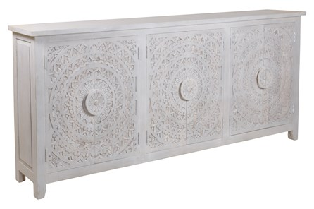 Hand Carved White Wash 6 Door Sideboard