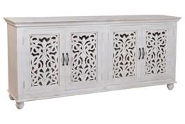 White Wash 4 Door Carved Sideboard
