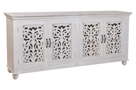 White Wash 4 Door Carved Sideboard