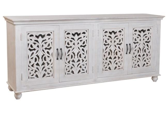 White Wash 4 Door Carved Sideboard - 360