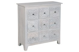 White Wash Hand Carved 9 Drawer Chest