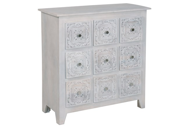 White Wash Hand Carved 9 Drawer Chest  - 360