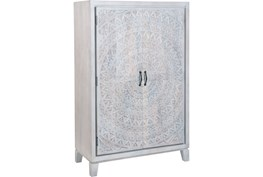 White Wash Hand Carved Wine Cabinet