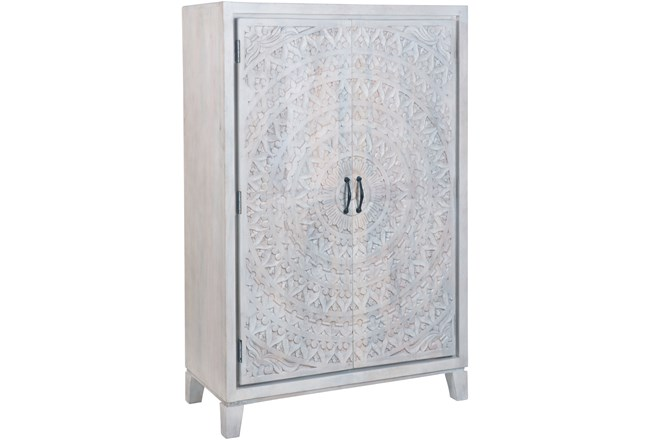 White Wash Hand Carved Wine Cabinet  - 360