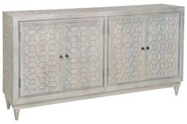 White Wash Geo Carved 4 Door Sidebaord