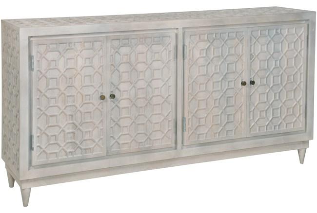White Wash Geo Carved 4 Door Sidebaord  - 360