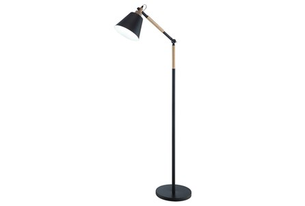 Floor Lamp-Matte Black And Wood