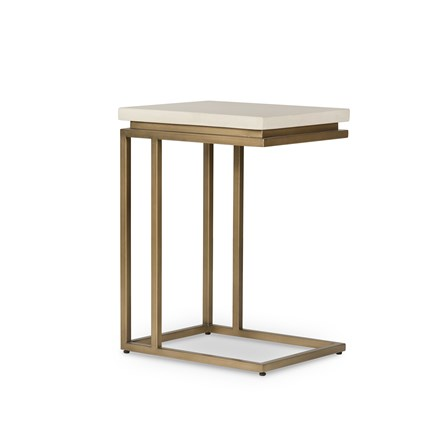 Parchment White Antique Brass End Table
