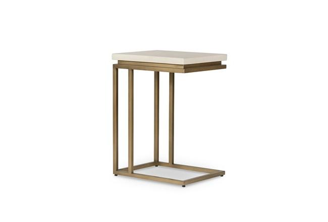 Parchment White Antique Brass End Table - 360