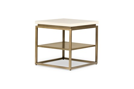 Parchment White Antique Brass Round End Table