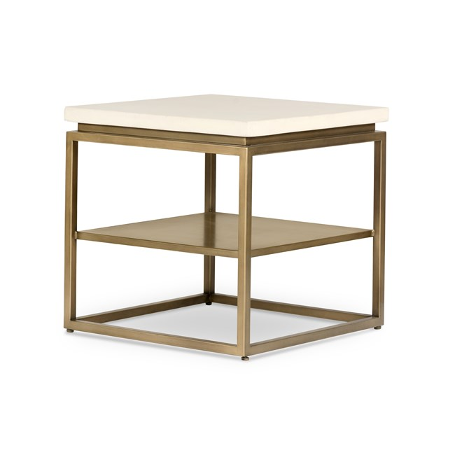 Parchment White Antique Brass Round End Table - 360