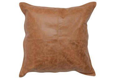 22X22 Chestnut Brown Pieced Leather Throw Pillow