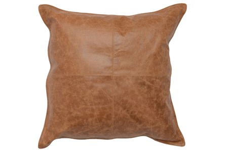 Accent Pillow-Chestnut Leather 22X22 - Main