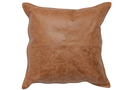 22X22 Chestnut Brown Pieced Leather Throw Pillow - Main