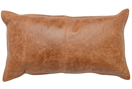14X26 Chestnut Brown Pieced Leather Lumbar Throw Pillow - Main