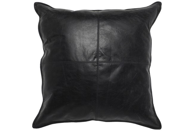 Accent Pillow-Black Leather 22X22 - 360