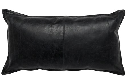Accent Pillow-Black Leather 14X26