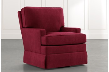 Bailey Burgundy Track Arm Skirted Swivel Glider