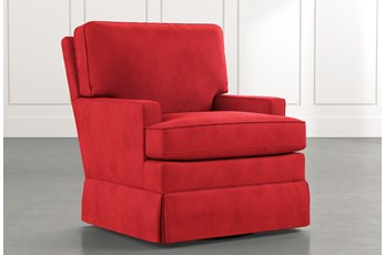 Bailey Red Track Arm Skirted Swivel Glider