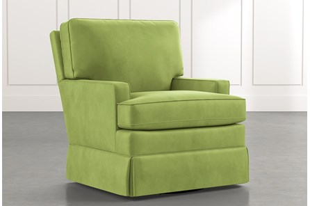 Bailey Green Track Arm Skirted Swivel Glider