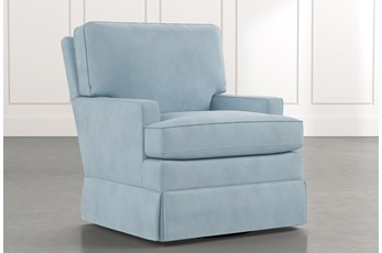 Bailey Light Blue Track Arm Skirted Swivel Glider