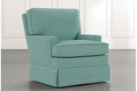 Bailey Teal Track Arm Skirted Swivel Glider