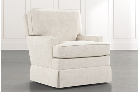 Bailey White Track Arm Skirted Swivel Glider