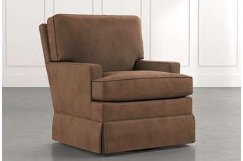 Bailey Brown Track Arm Skirted Swivel Glider