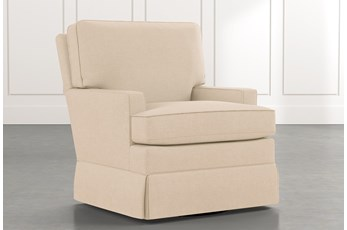 Bailey Beige Track Arm Skirted Swivel Glider