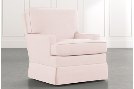 Bailey Pink Track Arm Skirted Swivel Glider