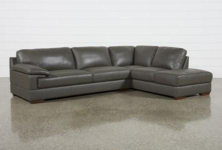 Nico Dark Grey Leather Sectional With Raf Storage Chaise