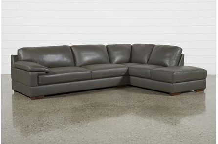 Nico Dark Grey Leather Sectional With Right Arm Facing Armless Storage Chaise