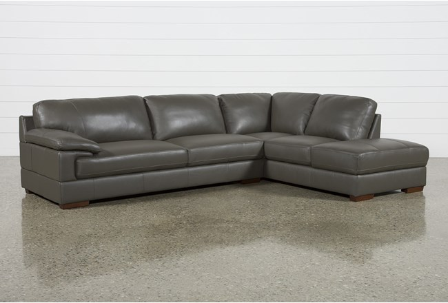 Nico Dark Grey Leather Sectional With Right Arm Facing Armless Storage Chaise - 360
