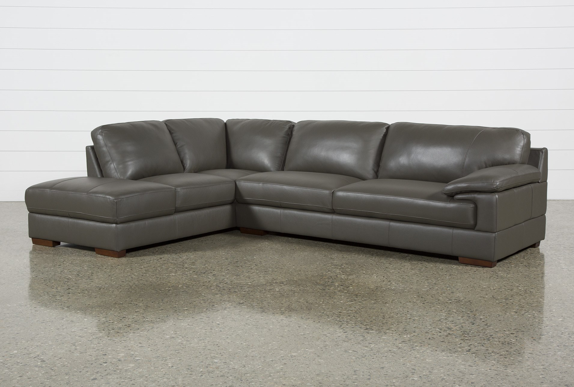 Nico Dark Grey Leather Sectional With Left Arm Facing Armless Storage Chaise