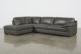 Nico Dark Grey Leather Sectional With Laf Storage Chaise
