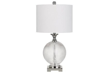 Table Lamp-Globe Ribbed Glass