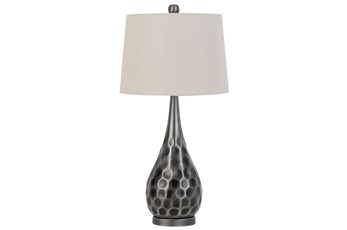 Table Lamp-Silver Hammered Metal