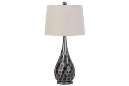 Table Lamp-Silver Hammered Metal - Main
