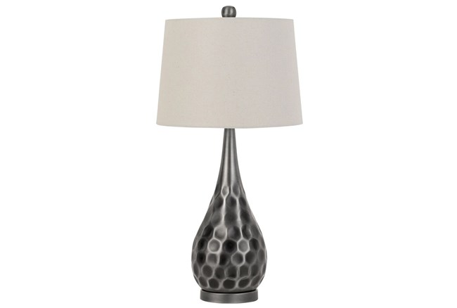 Table Lamp-Silver Hammered Metal  - 360