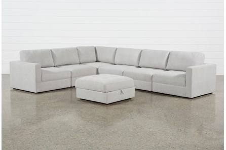 Mikhail Grey 6 Piece Sectional With Ottoman