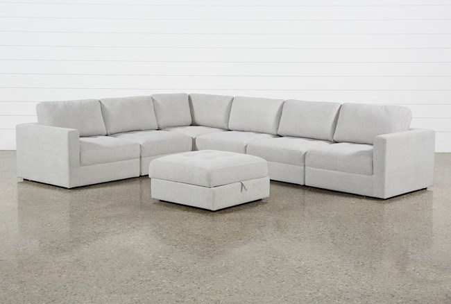 Mikhail Grey 6 Piece Sectional With Ottoman - 360