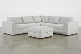 Mikhail Grey 5 Piece Sectional With Ottoman